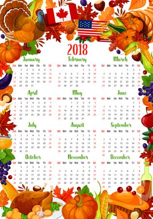 感謝祭休日フレームのカレンダー テンプレート