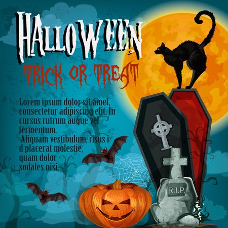 Halloween holiday night trick treat vector poster Illustration