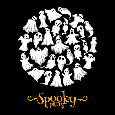 Halloween vector spooky party ghost poster Ilustração