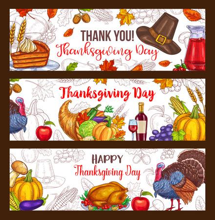 Thanksgiving dag vector oogst groet banners