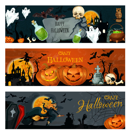 Halloween banner for spooky october holiday design