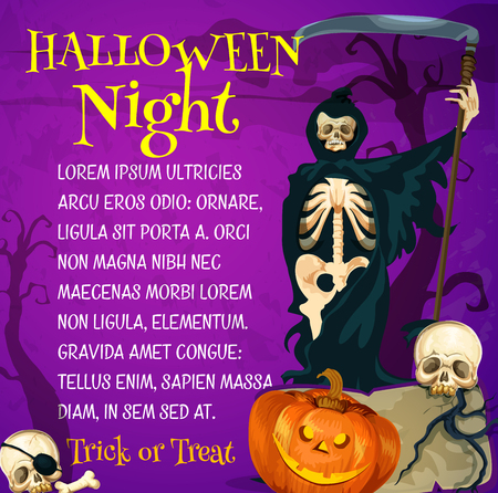 Halloween trick or treat poster with grim reaper