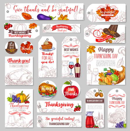 Thanksgiving day sketch holiday vector tags Illustration