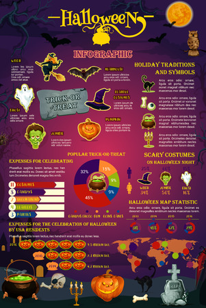 Halloween Spooky Holiday Infografica Template Vettoriali