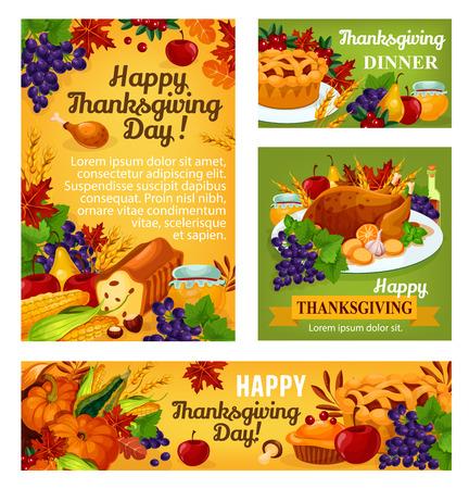 感謝祭の日のベクトルのポスターやバナー  イラスト・ベクター素材