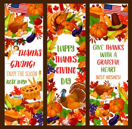 Thanksgiving banner set for autumn holiday design Illustration