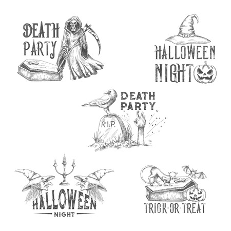Halloween night party vector sketch icons Illustration