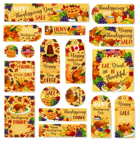 感謝祭の日ベクター販売ポスター、バナー、ラベル  イラスト・ベクター素材