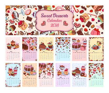 Bakery shop vector dessets calendar 2018 Ilustração