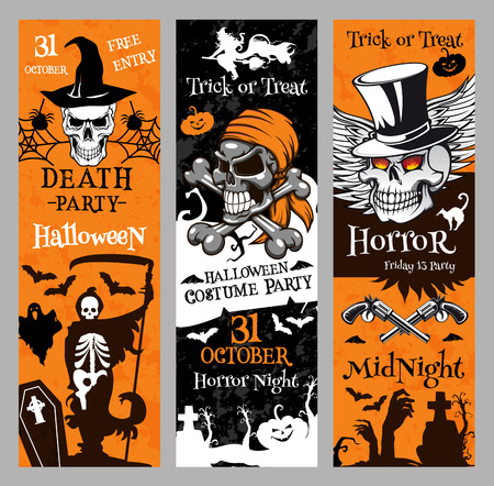 Halloween vector banners for holiday horror night Illustration