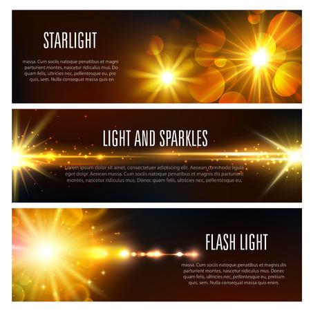 Banners met lichtflits en sprankelend effect
