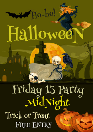 Halloween trick or treat party vector poster