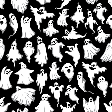 Halloween spooky ghost vector seamless pattern Illustration