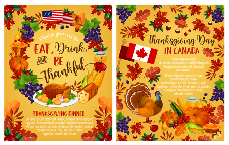 Thanksgiving dag vector Canadese groet posters