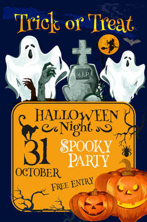 Halloween holiday trick treat horror party poster Illustration