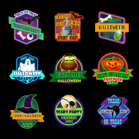 Halloween holiday icon and horror party label Illustration