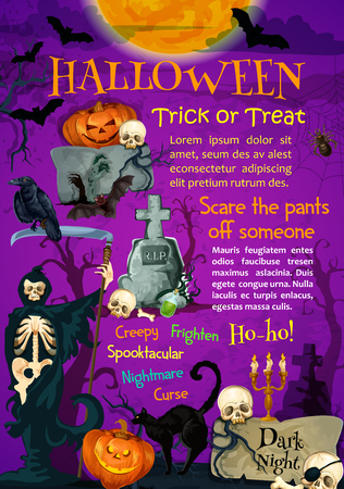 Halloween holiday trick or treating poster design