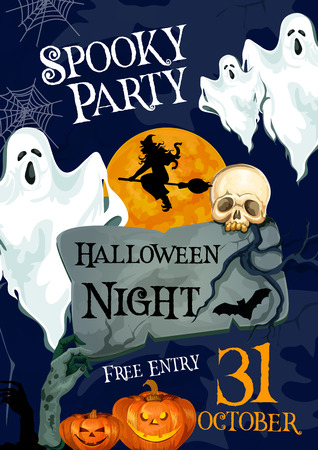 Halloween holiday horror party ghost poster Imagens - 86193109