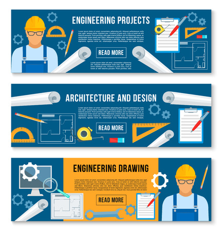 Vector banners home interior design work tools