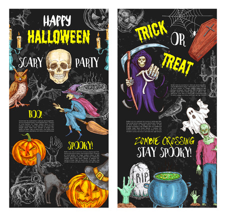 Halloween trick or treat party vector posters Illustration