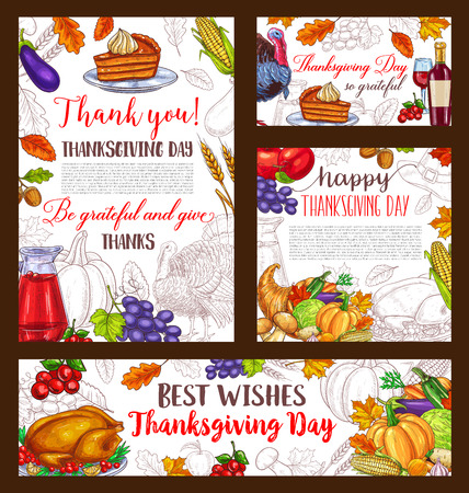Thanksgiving day sketch vector banner or posters