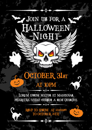 Halloween night party banner for october holiday