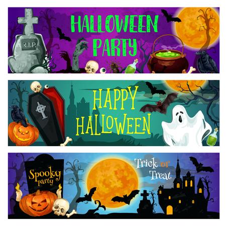 Halloween-feestbanner met geest op begraafplaats