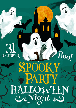 Halloween vector spooky party invitation poster Çizim