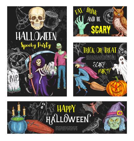 Halloween-poster van de de partij de vectorschets van de vrijdagverschrikking Stock Illustratie