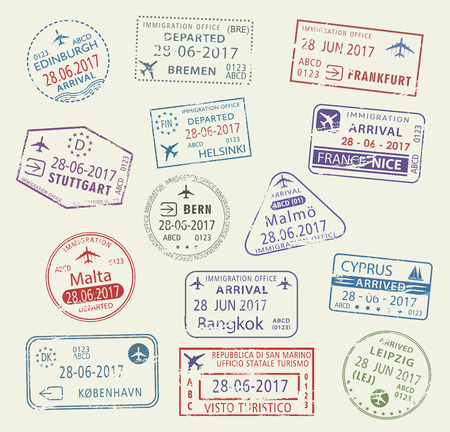 Icons of city passport stamps world travel Ilustracja