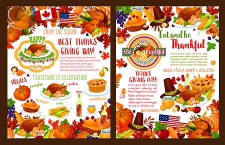 Día de acción de gracias vector banners de vacaciones de otoño Foto de archivo - 86329458