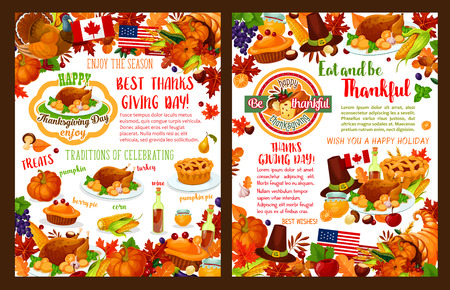 Thanksgiving day autumn holiday vector banners Illustration