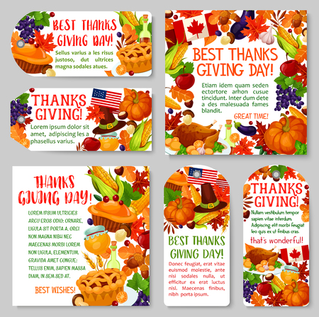 Thanksgiving day vakantie tag en label decorontwerp