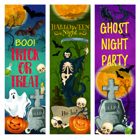 Halloween ghost party banner of october holiday