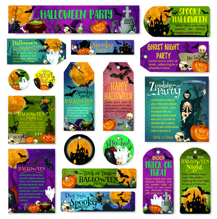 Halloween holiday trick treat greeting cards Illustration