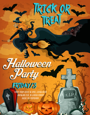 Halloween horror night party poster design