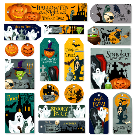 Halloween friday horror party vector icons Illustration