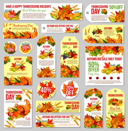 Thanksgiving verkoop tag voor kortingsaanbod ontwerp Stock Illustratie