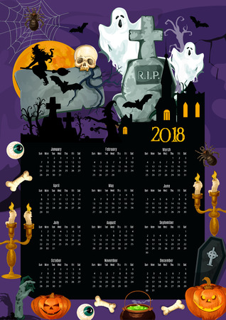 Halloween holiday year calendar template design