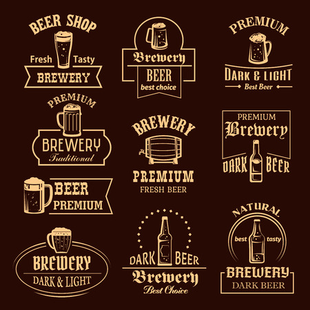 Vector icons set for beer brewery pub or bar