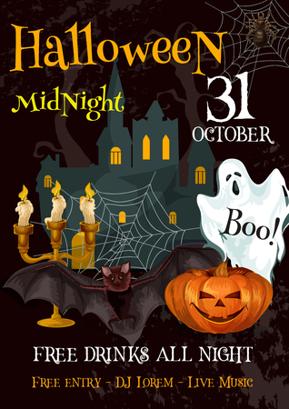 spider web: Halloween party night trick or treat vector poster