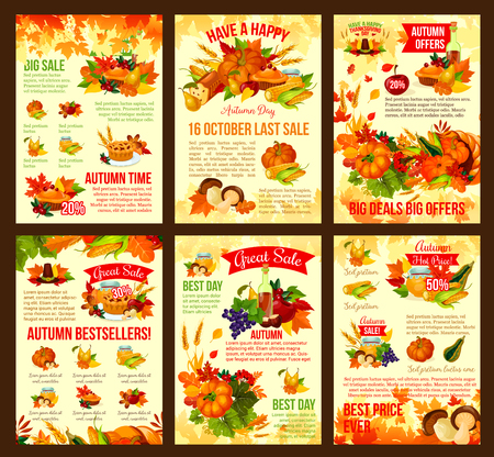 Thanksgiving autumn vector discount sale posters