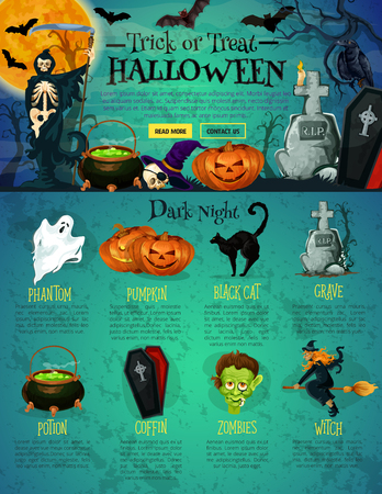 Halloween web page design. Landing web page of Halloween holiday traditional symbols with ghost, pumpkin and bat, scary skeleton skull, witch, black cat and zombie, cemetery grave, coffin and potion