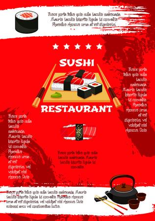 일본 스시 레스토랑 메뉴 포스터 템플릿입니다. 아시아 요리 초밥 롤, 벤토 해산물 수프와 두부 국수, 연어 필라델피아 또는 참치 회와 튀김 새우의 젓 일러스트
