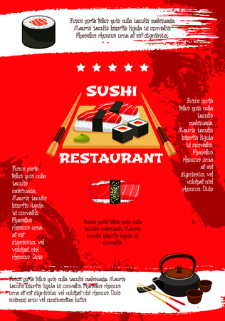 Japanese sushi restaurant menu poster template. Vector design of Asian cuisine sushi rolls, bento seafood soup and tofu noodles, salmon philadelphia or tuna sashimi and tempura shrimp with chopsticks
