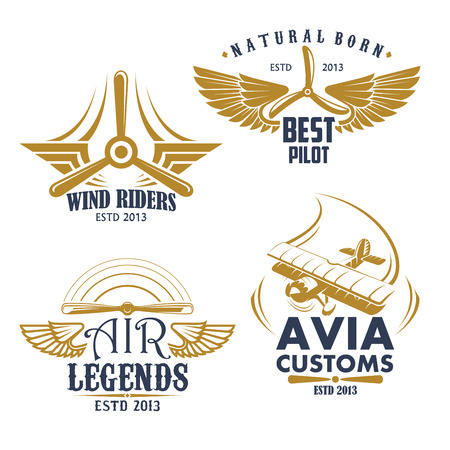 Aviation pilots and retro airplane icons. Vector isolated set of aircraft propeller and wings for avia customs badges, airscrew for air flight legend or best adventures and sport team Illustration