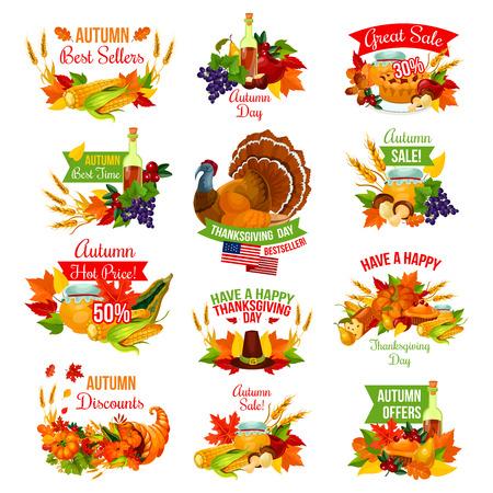 Erntedankfestverkaufsikonen für Herbstsaison-Promo-Rabatteinkaufen. Die Türkei, Fruchttorte oder Ahornblatt und Kürbis, Wein oder Honig und Eicheleichel oder Pilzernte in der Fülle. Vektor isoliert Satz Standard-Bild - 86750011