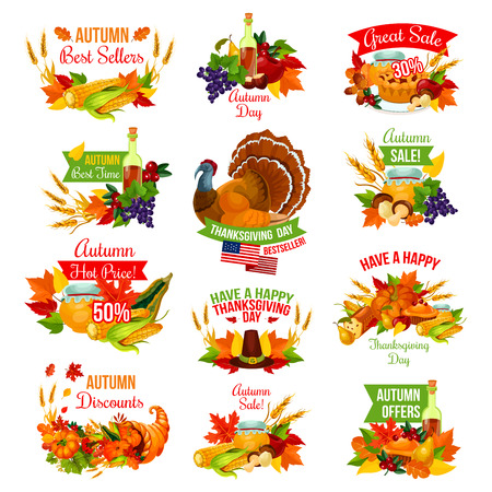 Thanksgiving day sale icons for autumn seasonal promo discount shopping. Turkey, fruit pie or maple leaf and pumpkin, wine or honey and oak acorn or mushroom harvest in cornucopia. Vector isolated set Ilustracja