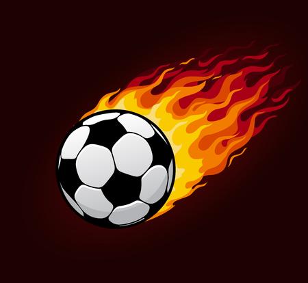 화재 흔적 가진 축구 또는 축구 공입니다. 스포츠 공 또는 불타는 불꽃, 속도 및 에너지 축구 클럽 배지, 리그 챔피언십 목표 포스터 디자인 (벡터)에 대