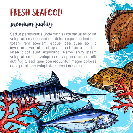 Fresh seafood poster and fisherman fish catch of flounder, marlin or carp and herring. Vector fish or sea food design of salmon, pike or sprats and mackerel for market or restaurant Illustration